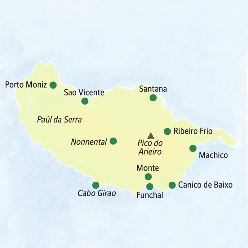 Unsere achttägige Wander-Studienreise nach Madeira beginnt in Funchal. Das Hotel liegt in Canico de Baixo. Besucht werden die Orte Cabo Girao, Nonnental, Porto Moniz, Sao Vicente, Santana, Ribeiro Frio, Machico und Monte.