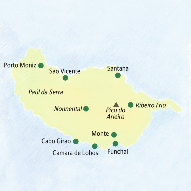 Auf unserer Studienreise nach Madeira besuchen wir die Orte Santana, Ribeiro Frio, Funchal, Monte, Camara de Lobos, Cabo Girao, Nonnental, Porto Noniz, Sao Vicente.