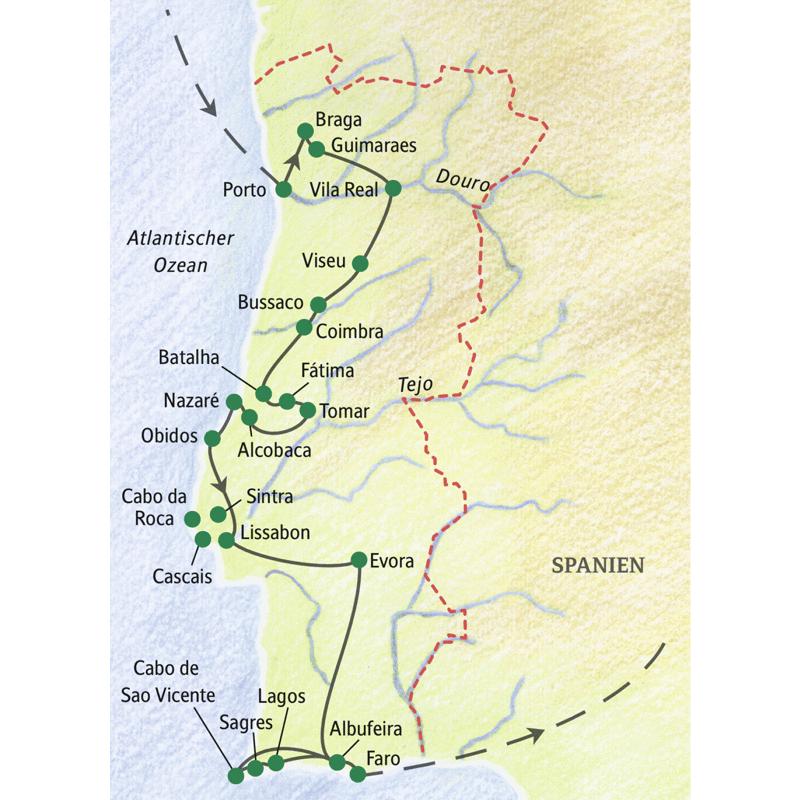 Unsere 15-tägige Studienreise mit Muße durch Portugal führt über Porto, Braga, Guimaraes, Vila Real, Viseu, Bussaco, Coimbra, Fatima, Tomar, Batalha, Alcobaca, Nazaré, Obidos, Lissabon, Evora, Albufeira, Lagos, Sagres und Cabo de Sa Vicente nach Faro.