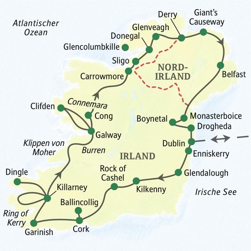 Die Karte zeigt den Verlauf der umfassenden Irland-Studienreise. Die Rundreise beginnt in Dublin und führt über Enniskerry, Glendalough, Kilkenny, Rock of Cashel, Cork. Grinish, Killarney, Dingle, Galway, Sligo, Donegal, Derry, Belfast und das Boynetal.