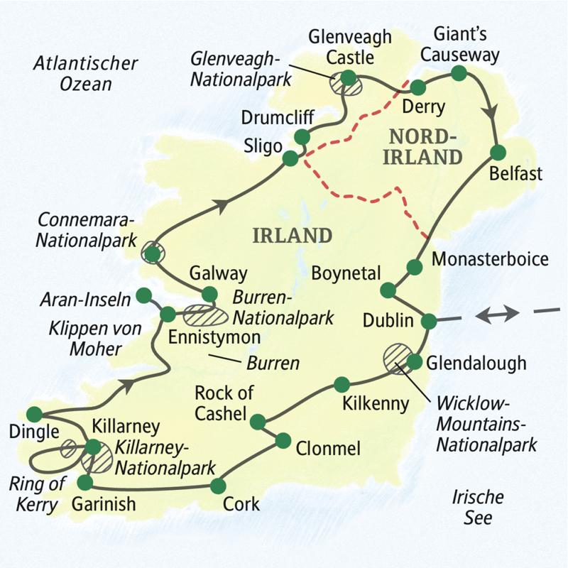 Die Karte zeigt den Verlauf unserer Wanderreise durch die Republik Irland und Nordirland. Die Stationen: Dublin, Glendalough, Kilkenny, Rock of Cashel, Clonmel, Cork, Grainish, Killarney, Dingle, Klippen von Moher, Ennistymon, Aran-Inseln, Galway, Connemara-Nationalpark, Ligo, Drumcliff, Glenveagh-Nationalpark, Giant's Causeway, Derry, Belfast, Monasterboice, Boynetal, Dublin.