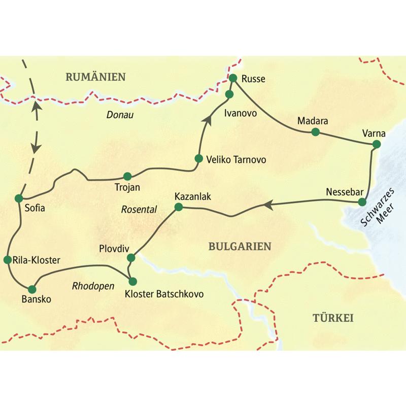 Die Karte zeigt den Verlauf unserer Studienreise durch Bulgarien. Beginn ist in Sofia. Sie entdecken außerdem Trojan, Veliko Tarnovo, Russe, Madara, Varna, Nessebar, Kazanlak, Plovdiv, Batschkovo, Bansko, Rila.
