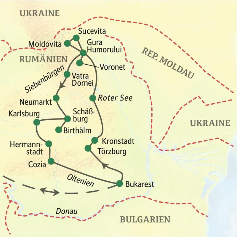 Auf unserer Studienreise Rumänien ¿ Moldauklöster und Siebenbürgen starten Sie in  Bukarest und übernachten in Kronstadt, Gura Humorului, Schäßburg und Hermannstadt.