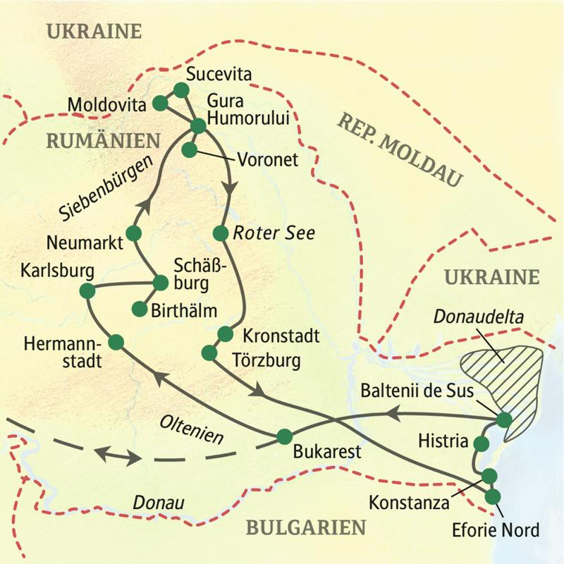 Unsere Studienreise durch Rumänien mit Aufenthalt im Donaudelta folgt dem Verlauf Bukarest, Hermannstadt, Karlsburg, Schäßburg, Neumarkt, Gura Humorului, Kronstadt, Eforie Nord, Histria und Baltenii de Sus.