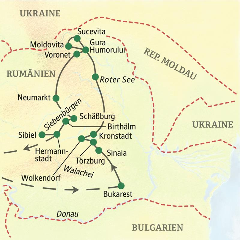 Unsere Wanderreise durch Rumänien folgt dem Verlauf  Start in Bukarest, Sinaia, Kronstadt, Gura Humorului, Schäßburg, Hermannstadt.