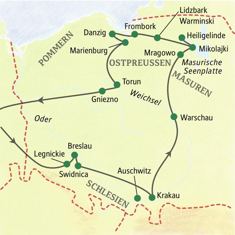 Unsere umfassende, 13-tägige Studienreise durch Polen führt Sie unter anderem nach Breslau, Krakau, Warschau und Danzig.