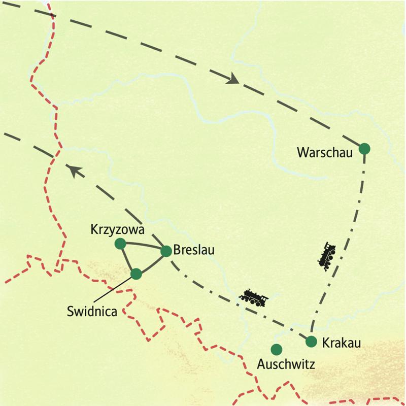 Neuntägige Studienreise durch Polen: Warschau - Krakau - Breslau per Bahn. In den drei Städten überanchten Sie in zentralgelegenen Hotels.