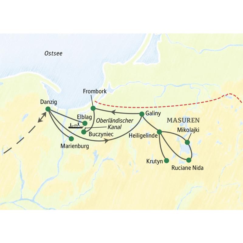 Achttägige Studienreise zu den Höhepunkten Nordpolens und Masurens mit vier Übernachtungen auf dem Schlossgelände von Galiny. Stationen sind unter anderem Danzig, Frombork, Marienburg, Elblag sowie Heiligelinde, Krutyn, Ruciane Nida und Mikolajki.