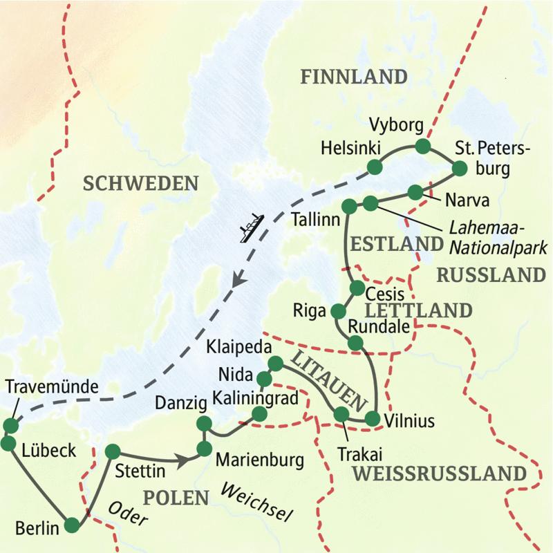 Abwechslung ist hier Programm: Erleben Sie Polen, Litauen, Lettland und Estland. Dazu Aufenthalte in Kaliningrad und St. Petersburg - alles auf einer 19-tägigen Studienreise, per Komfortbus ab Berlin.