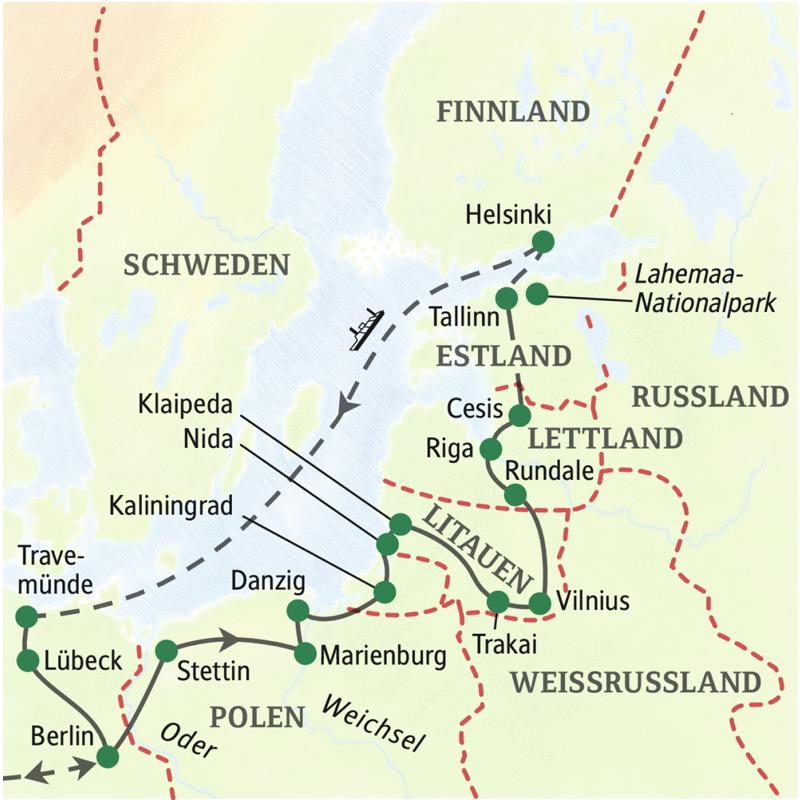Mit dem Bus ab Deutschland in 15 Tagen und mit Studiosus-Reiseleitung durch Polen über Kaliningrad nach Litauen, Lettland und Estland - spannend und entspannend zugleich. Besonders erholsam: die Rückreise mit der Fähre von Helsinki nach Travemünde.