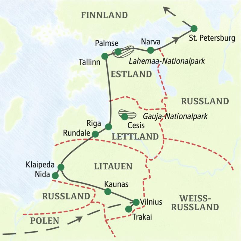 Die wichtigsten Höhepunkte in Litauen, Lettland, Estland und St. Petersburg auf einer 14-tägigen Studienreise erleben. Mit Stationen in Vilnius, Klaipeda, Riga, Tallinn und St. Petersburg.