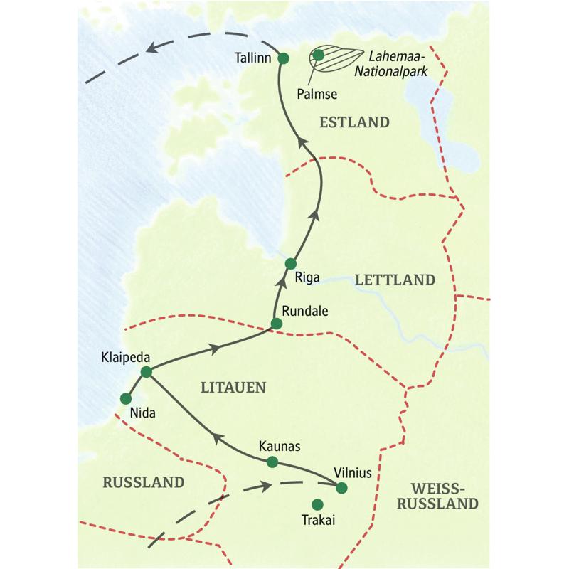 Unsere Studienreise Baltikum - Impressionen führt Sie in die drei Hauptstädte Vilnius, Riga und Tallinn und bei einem Tagesausflug auf die Kurische Nehrung (UNESCO-Welterbe).