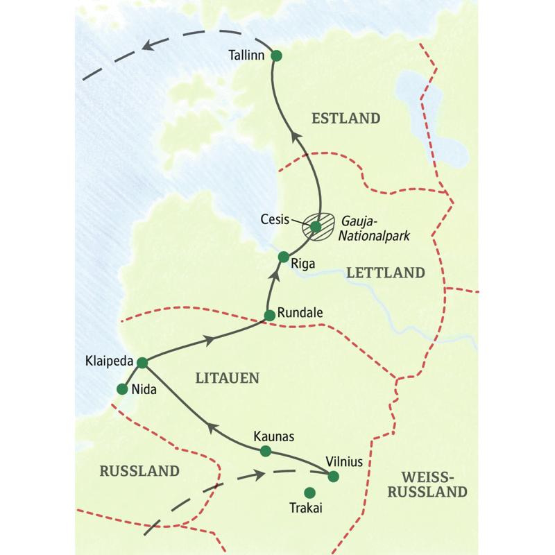 Die Reiseroute unserer PreisWert-Studienreise Baltikum - zum Kennenlernen lässt Sie die Höhepunkte der baltischen Länder kompakt in neun Tagen erleben. Besondere Highlights sind der Gauja-Nationalpark und die Kurische Nehrung (UNESCO-Welterbe).