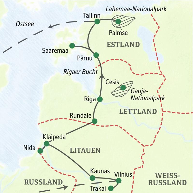 Auf unserer  Studienreise Baltikum - mit Muße lernen Sie geruhsam in 14 Tagen die drei baltischen Staaten Litauen, Lettland und Estland kennen. Natur- und Kulturerlebnisse sowie Begegnungen mit Land und Leuten werden Sie begeistern. Mit Kurischer Nehrung (UNESCO-Welterbe) und der Insel Saaremaa.