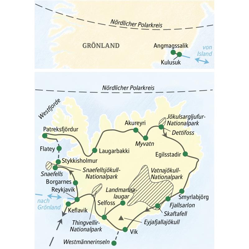 Die große Islandreise - erst  in 16 Tagen rund um die Insel, inklusive Abstechern zu den Westfjorden und den Westmännerinseln, anschließend fliegen wir zu einer dreitägigen Erkundung Ostgrönlands. Auf dieser umfassenden Natur-Studienreise besuchen wir erst u.a. Reykjavik, den Snaefellsjökull-Nationalpark, Akureyri, den Myvatn, den Jökulsargljufur/Vatnajökull-Nationalpark, den Dettifoss, Egilsstadir, den Vatnajökull-Nationalpark, Vik und den Thingvellir-Nationalpark. Danach fliegen wir zu einer dreitägigen Verlängerung nach Ostgrönland.