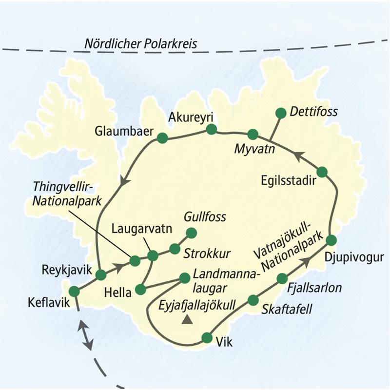 Auf der Studienreise Island - Insel aus Feuer und Eis besuchen wir u.a. Reykjavik, Glaumbaer, Akureyri, den Myvatn, den Dettifoss, Egilsstadir, den Vatnajökull-Nationalpark mit Fjallsarlon, Vik, den Gullvoss und den Thingvellir-Nationalpark.