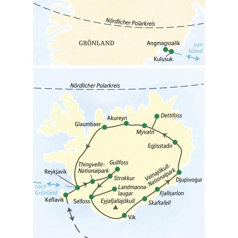 Auf der Studienreise Island - Insel aus Feuer und Eis mit Ostgrönland besuchen wir zunächst u.a. Reykjavik, Glaumbaer, Akureyri, den Myvatn, den Dettifoss, Egilsstadir, den Vatnajökull-Nationalpark mit Fjallsarlon, Vik, den Gullvoss und den Thingvellir-Nationalpark. Anschließend fliegen wir zu einer dreitägigen Verlängerung nach Ostgrönland.