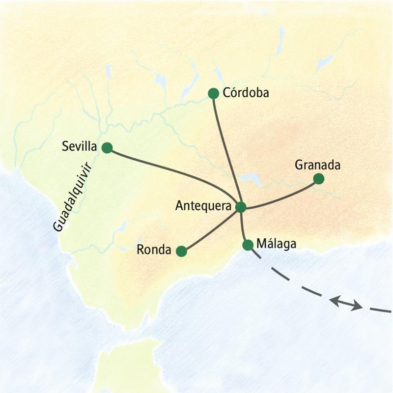 Unsere Reiseroute nach Andalusien führt von Antequera aus sternförmig nach Córdoba, Granada, Sevilla, Ronda und Málaga.