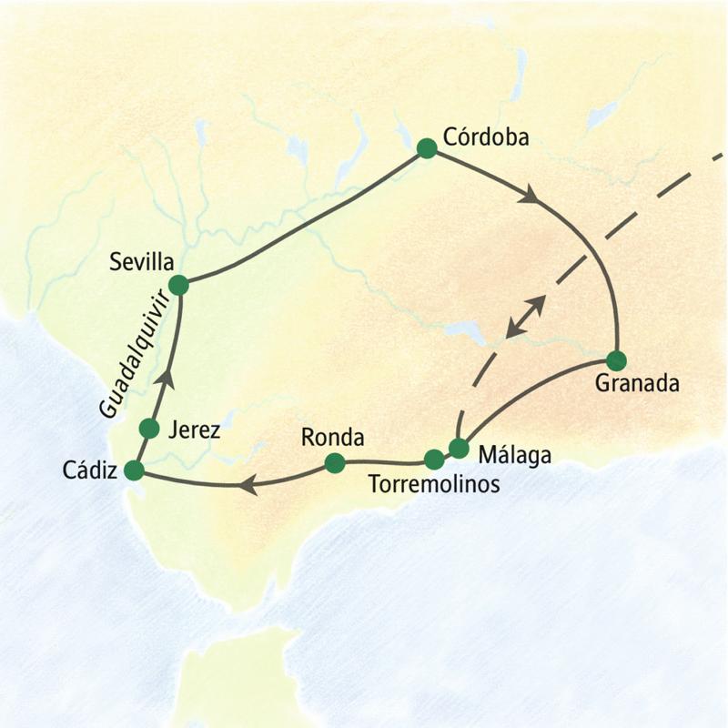 Wichtigste Stationen dieser Rundreise durch Andalusien: Ronda, Cádiz, Sevilla, Córdoba, Granada