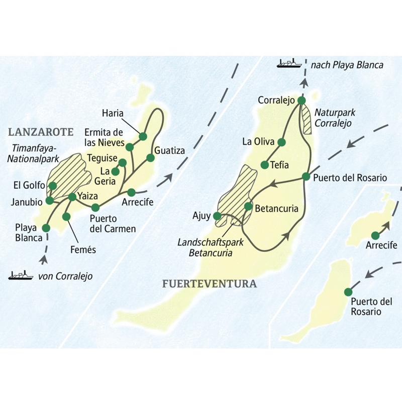 Wichtigste Stationen dieser Studienreise auf Fuerteventura und Lanzarote: Corralejo, Betancuria, Puerto del Carmen, Teguise und Timanfaya