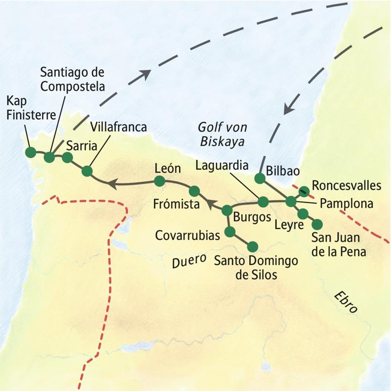 Unsere Reiseroute auf der Wander-Studienreise nach Spanien führt von Bilbao bis nach Santiago de Compostela. Wichtigste Stationen: Pamplona, Burgos, León und das Kap Finisterre.