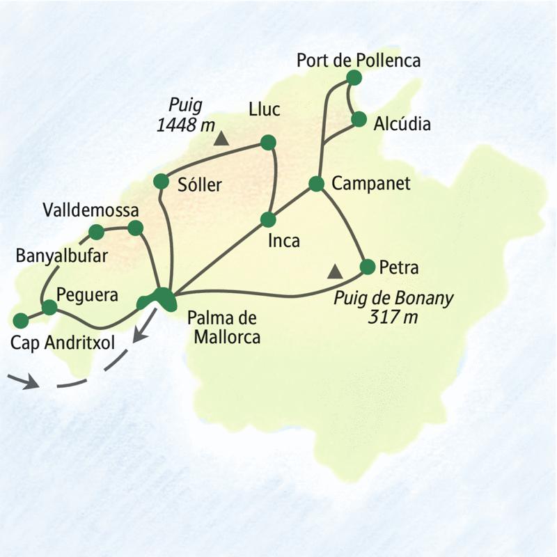 Wichtigste Stationen dieser Studienreise zum Wandern auf Mallorca: Peguera, Alcúdia, Palma, Sóller und Valldemossa.