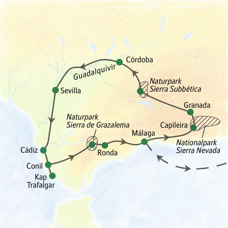 Die Route unserer Wanderreise durch Andalusien beginnt und endet in Málaga. Dazwischen erobern wir zu Fuß die Alpujarras, die Sierra Nevada und die Sierra de Grazalema, sehen aber auch die maurischen Kulturschätze von Sevilla, Granada und Córdoba sowie Ronda und die malerischen ¿weißen Dörfer¿.