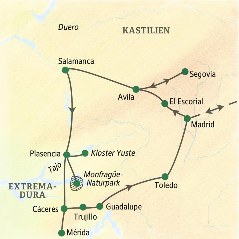 Wichtigste Stationen dieser Studienreise durch Spanien: Madrid, Segovia, Avila, Salamanca, Toledo und Cáceres in der Extremadura