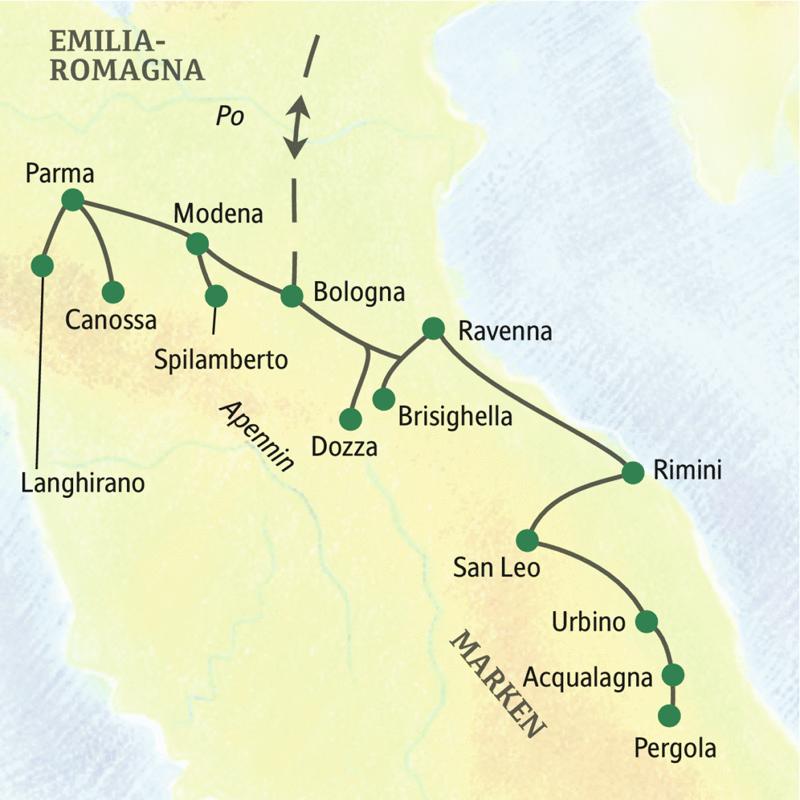 Klassische zehntägige Studienreise in zwei kulturträchtige Regionen des Apennins: Emilia-Romagna und die Marken, mit Übernachtung in Bologna, Ravenna und Urbino.