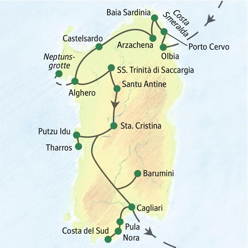 Auf dieser Studienreise erleben Sie in acht Tagen die Höhepunkte Sardiniens -  mit einer schönen Mischung aus Natur- und Kulturerlebnissen. Gute Hotels, meist am Meer oder mit Pool.