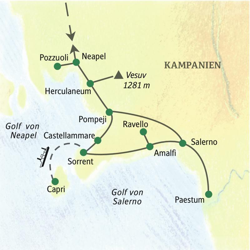 Klassische, zehntägige Studienreise nach Neapel, Pompeji und Paestum, vier Nächte in Neapel, fünf Nächte in Castellammare in einem Hotel direkt am Meer.
