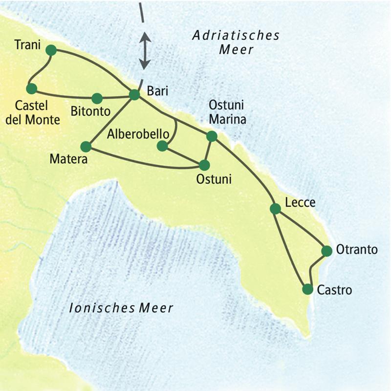 Achttägige Studienreise zu den Höhepunkten Apuliens wie den Trulli und Castel del Monte. Besuch von Bari, Ostuni, Lecce, Matera und Otranto; kein Hotelwechsel.