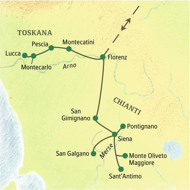Zehntägige Studienreise mit leichten und mittleren Wanderungen sowie Spaziergängen in der Toskana von zwei Standorten aus; mit Besuchen von Florenz, Siena und San Gimignano.