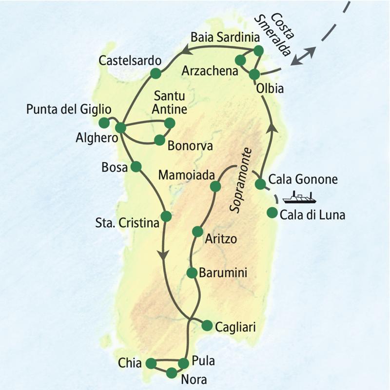 Meer und Gebirge ¿ wenn Sie beides wollen, sind Sie auf dieser Wanderreise nach Sardinien richtig. Unsere Route führt von Nord nach Süd und wieder zurück und streift alle landschaftlichen und kulturellen Höhepunkte der Insel.