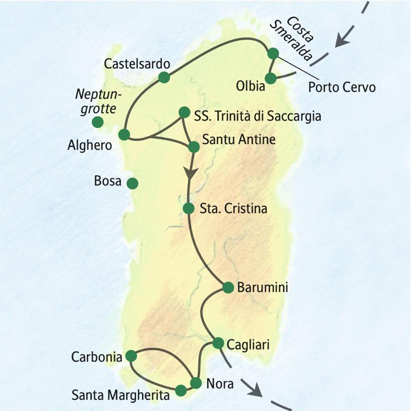 Auf unserer elftägigen Studienreise Sardinien - mit Muße erleben Sie in geruhsamen elf Tagen die landschaftlichen und kulturellen Höhepunkte der Insel.