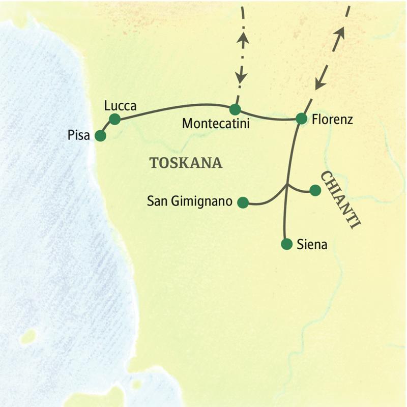 Diese achttägige Studienreise in die Toskana mit sieben Nächten in Montecatini Terme zeigt Ihnen die Höhepunkte der Region: Florenz, Siena, Lucca, Pisa, San Gimignano und Chianti.