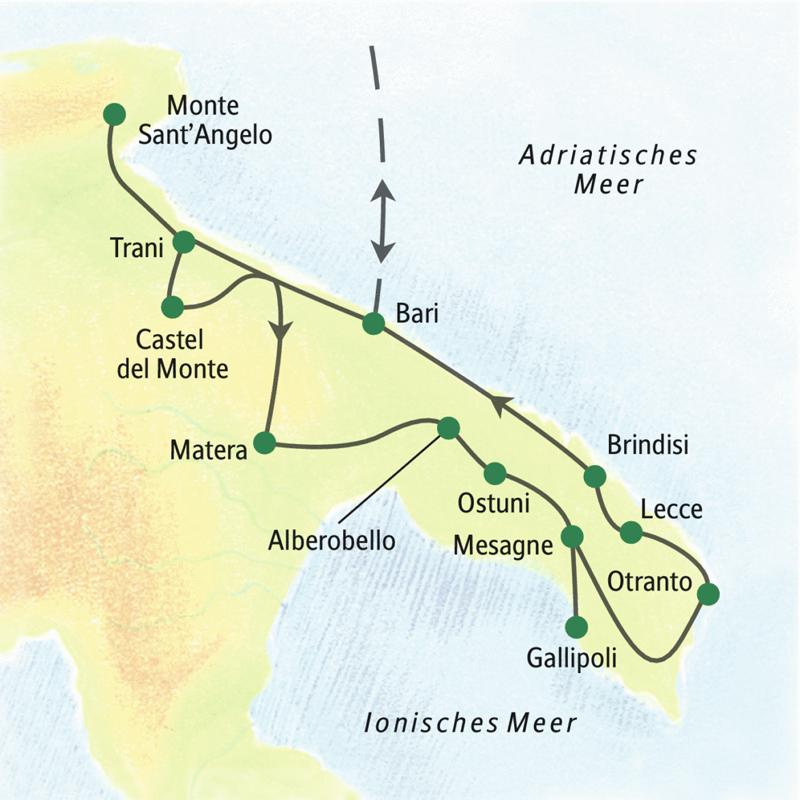 Unsere Studienreise führt in den Norden und in den Süden von Apulien; z.B. über Monte Sant'Angelo, Trani, Castel del Monte, Alberobello, Ostuni Brindisi zurück nach Bari.