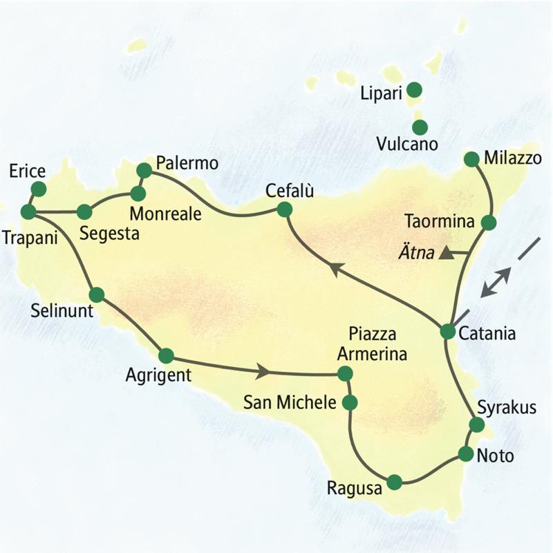 Eine ausgewogene Mischung aus Kultur und Natur: 14-tägige Studienreise rund um Sizilien mit guten Hotels in schöner Lage. Einige Stationen: Cefalù, Palermo, Monreale, Segesta, Trapani, Selinunt, Agrigent, Ragusa, Noto und Syrakus. Möglichkeit zum Ausflug auf die Äolischen Inseln.
