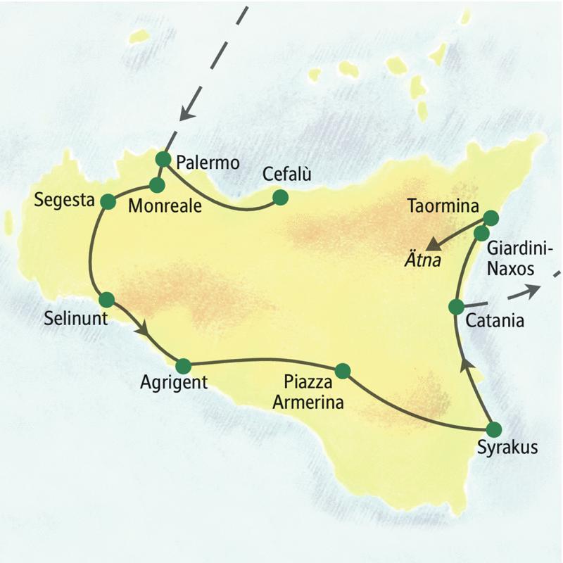 Unsere Reiseroute führt einmal um Sizilien. Wir erleben auf dieser Studienreise u.a. Palermo, Selinunt, Agrigent, Syrakus, den Ätna und Taormina.