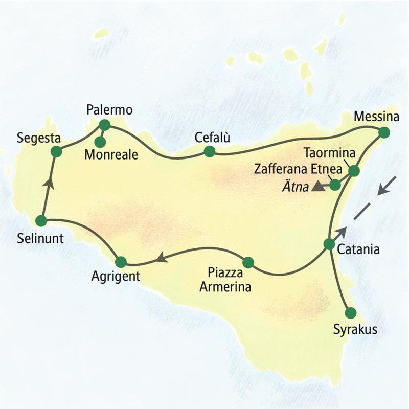 Auf dieser achttägigen PreisWert-Studienreise erleben Sie alle Höhepunkte Siziliens, u.a. Catania, Syrakus, Agrigent, Selinunt, Segesta, Monreale, Palermo und Cefalù.