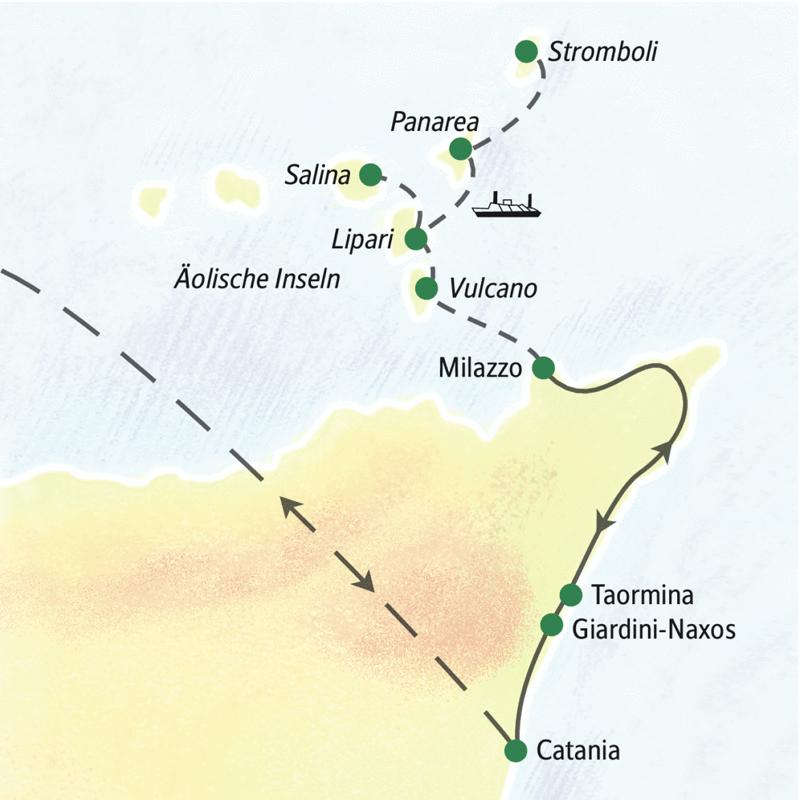 Entdecken Sie auf unserer Wanderstudienreise zu den Äolischen Inseln Lipari, Vulcano, Salina, Panarea und Stromboli.