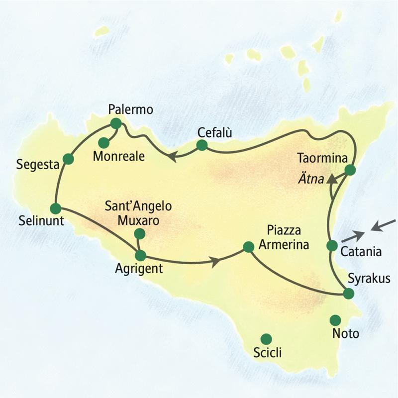 Entdecken Sie auf dieser Studienreise mit Muße Sizilien in zwölf Tagen auf erholsame Weise: ausschließlich Mehrfachübernachtungen in guten, schön gelegenen Hotels. Dabei erleben Sie alle Höhepunkte Siziliens, u.a. Taormina, Cefalù, Palermo, Monreale, Segesta, Selinunt, Agrigent, Syrakus und Catania.
