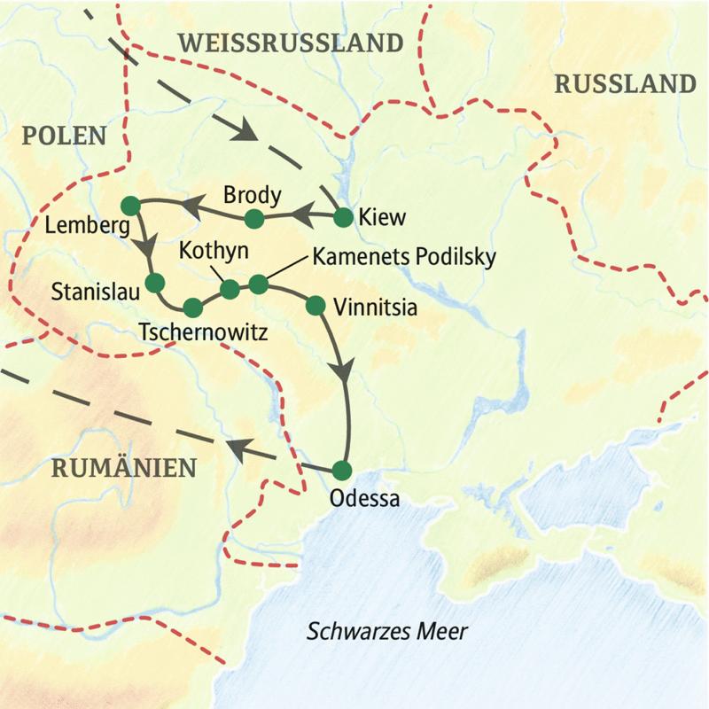 Unsere Studienreise in die Ukraine führt Sie vom dynamischen Kiew in den von der Habsburgermonarchie geprägten Westen und dann in den Süden an die Ufer des Schwarzen Meeres. Einige Orte auf unserer Fahrt: Kiew, Brody, Lemberg, Tschernowitz, Kamenets Podilsky und Odessa.