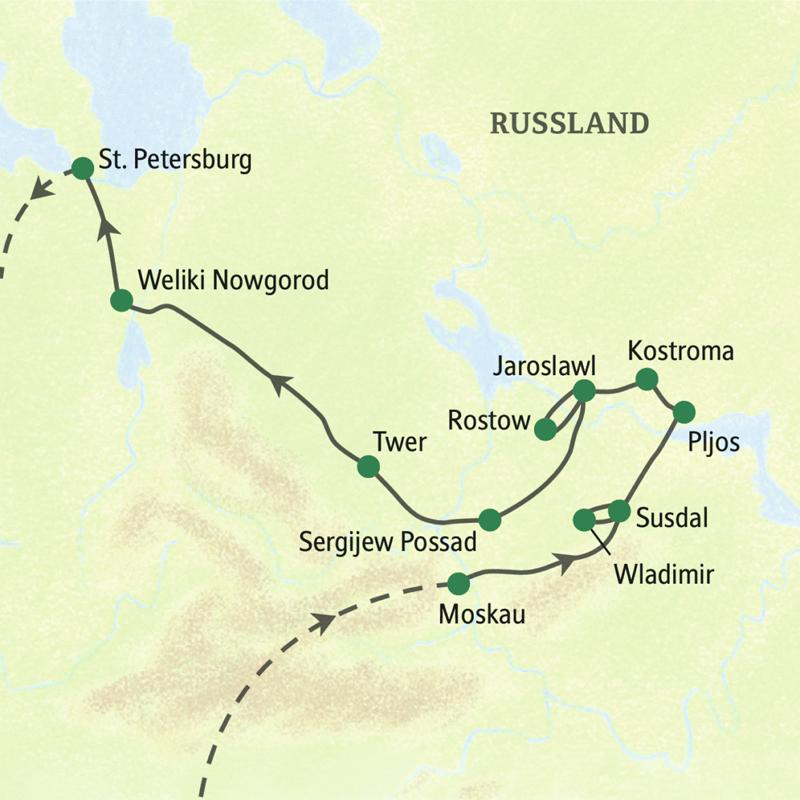 Bei unserer Reise zum Goldnen Ring sehen Sie die beiden bedeutendsten Großstädte Russland, Moskau und St. Petersburg Außerdem  besuchen wir  auf dem Goldenen Ring Wladimir, Susdal, Pljos, Kostroma, Jaroslawl. Rostow und Sergijew Possad.