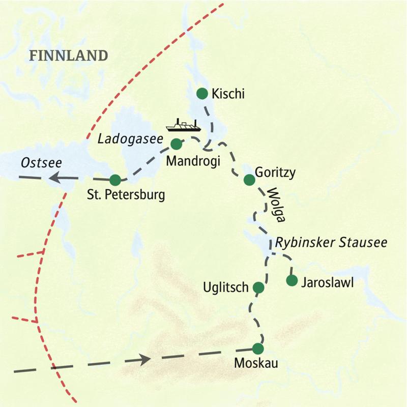 Erleben Sie auf dieser elftägigen Kreuzfahrt-Studienreise mit der bewährten Rublew die Höhepunkte zwischen Moskau und St. Petersburg. Station machen wir in Uglitsch und Jaroslawl (UNESCO-Welterbe) sowie auf der Insel Kischi (UNESCO-Welterbe) in Karelien.