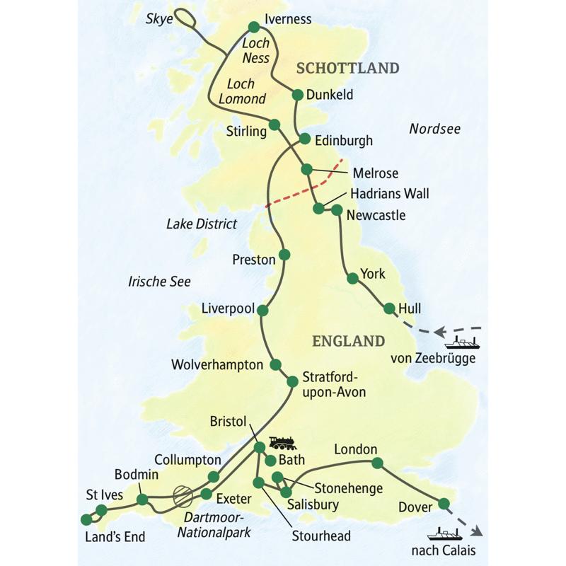 Unsere ausführlichste Reise in Großbritannien. In knapp drei Wochen rund um die Insel, mit Stationen wie York, Newcastel, Stirling, Skye, Edinburgh, Lake District, Liverpool, Cornwall mit Land's End, Bath, Salisbury, Stonehenge, London und Dover.