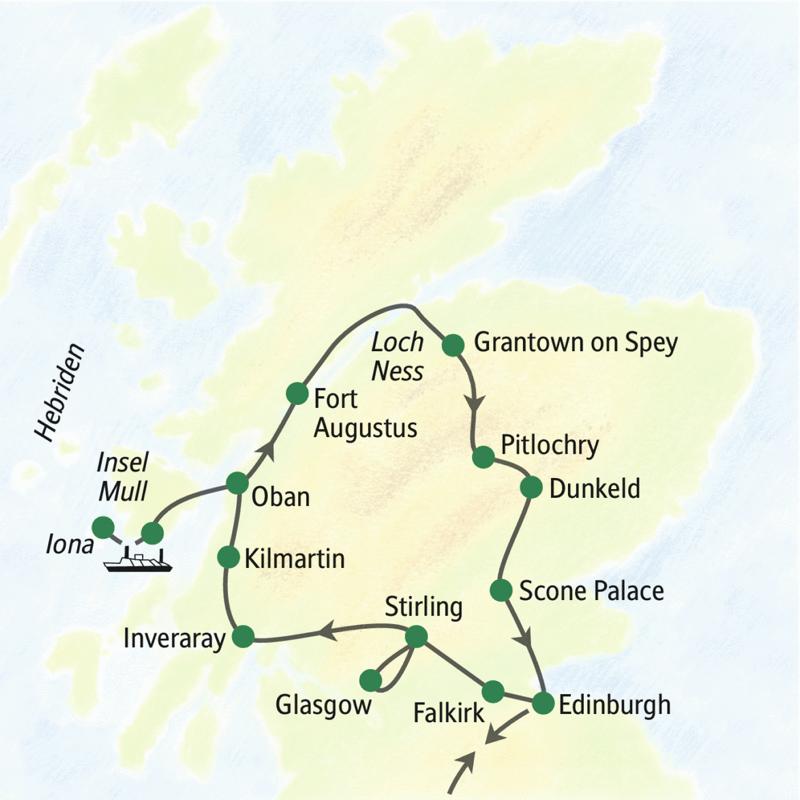 Die Reiseroute der Studienreise Schottland - im Überblick startet und endet in Edinburgh. Unterwegs sehen wir unter anderem Glasgow, Loch Lomond, die Grampian Mountains und die Insel Mull.