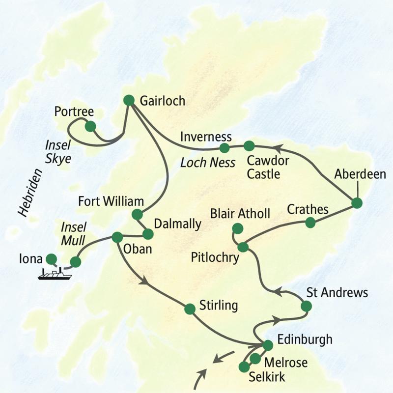 Die Reiseroute der Reise Schottland umfassend. Die Reise beginnt in  Edinburgh und besucht unter anderem St. Andrews, Pitlochry, Aberdeen, Inverness, Gairloch, der Insel Skye, Fort Willam, der Insel Mull, Stirling, Melrose und Selkirk