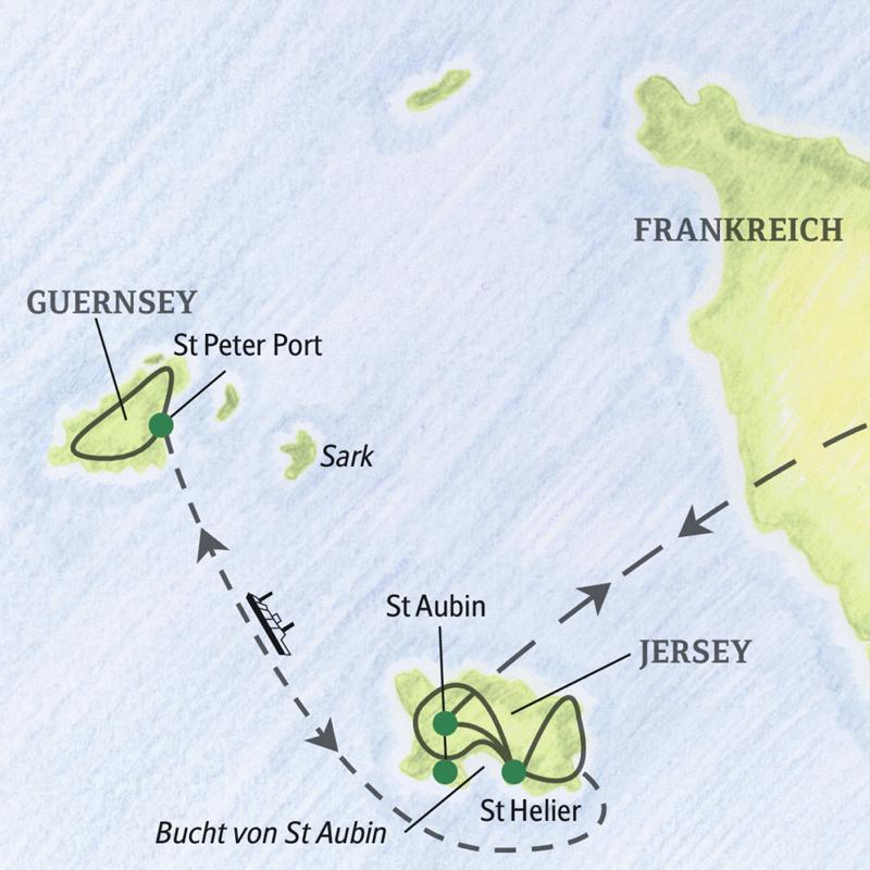 Bei der Reise auf die Kanalinseln übernachten Sie  auf Jersey in der Nähe von St Aubin. Bei einem Ausflug können Sie  Guernsey erkunden. Optional zubuchbar: ein  Ausflug nach Sark