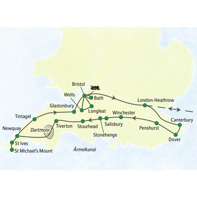 Reiseroute der StudienreiseSüdengland umfassend mit Besuchen in  Ostengland mit  Canterbury und Dover. Außerdem Winchester, Salisbury, Stonehenge, Cornwall (unter anderem Tintagel, St Ives und St. Michael's Mount) und Somerset mit Wells und Bath.